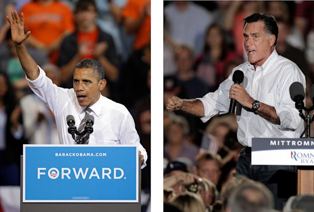 FILE - In these Sept. 26, 2012, file photo, President Barack Obama and Republican presidential candidate Mitt Romney both campaign in the battleground state of Ohio. Fierce and determined competitors,