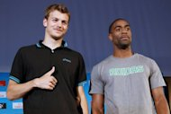 French athlete Christophe Lemaitre (L) and Tyson Gay of the US, pictured during the AREVA meeting presentation on July 4, in Paris. Gay and Justin Gatlin will go head-to-head in the Diamond League meeting on Friday, with home hope Lemaitre also hoping to show his form ahead of the fast-approaching London Olympics