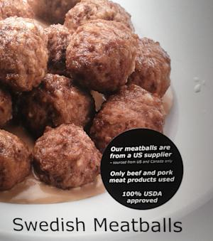 A in-store poster advertisement at the Ikea store in Canton, Mich., shows a newly placed sticker referring to the source of the meatballs served at the cafeteria in the store on Wednesday night, Feb. 27, 2013. The horse meat scandal that is hitting Europe has yet to spread to the United States, allowing American consumers to rest easier when buying ground beef or sitting down for a plate of meatballs at Ikea. (AP Photo/Michael Lee)