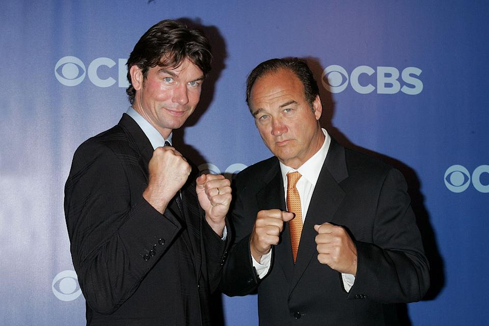 "Jerry O'Connell and Jim Belushi (""The Defenders"") attend the 2010 CBS Upfront at The Tent at Lincoln Center on May 19, 2010 in New York City."