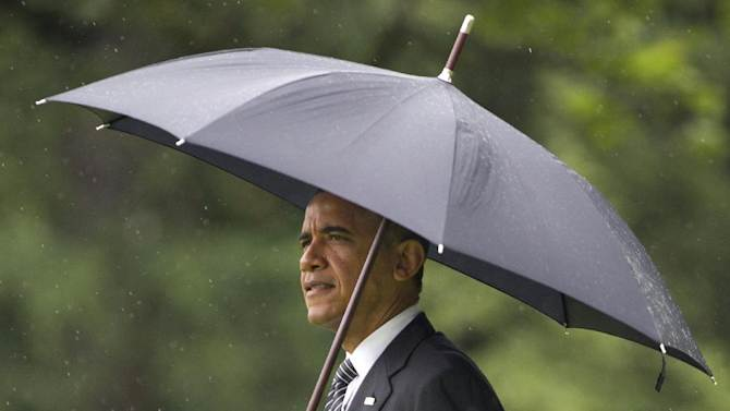 President Barack Obama walks on the South Lawn of the White House Tuesday, June 12, 2012, leaving for campaign stops in Baltimore and Philadelphia.  (AP Photo/Manuel Balce Ceneta)