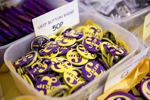 Button badges are seen for sale at the UK Independence Party's annual conference in central London