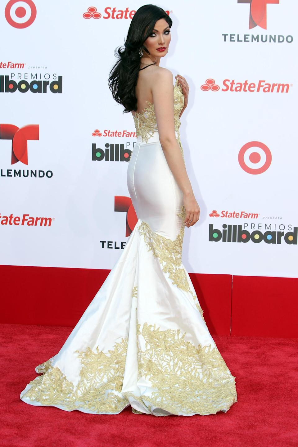 Puerto Rican actress Cynthia Olavarria arrives at the Latin Billboard Awards in Coral Gables, Fla. Thursday, April 25, 2013. (Photo by Carlo Allegri/Invision/AP)