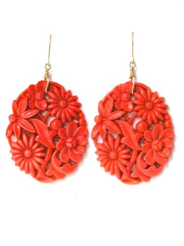 Coral Glass Floral Earrings