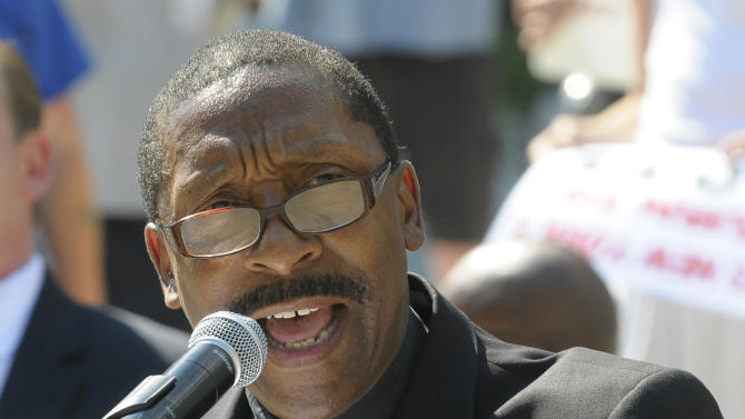 Rev. Norman R. Macklin, speaks during Let The People Vote opposition protest rally against same-sex marriage's at the state Capitol in Albany, N.Y., Sunday, July 24, 2011. (AP Photo/Hans Pennink)