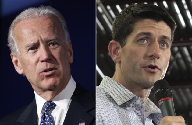 This combo made from file photos shows Vice President Joe Biden, left, and Republican vice presidential nominee Paul Ryan. In some ways, these presidential ticket No. 2s could not be more different. B