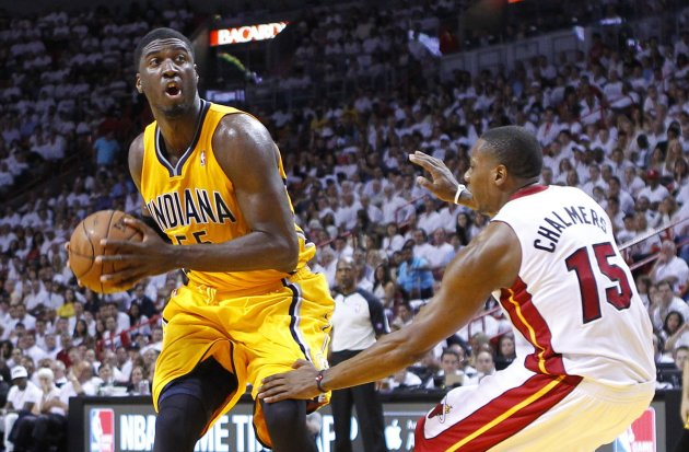 Heat's Chalmers fouls Pacers' Hibbert during Game 2 of their NBA Eastern Conference final playoff in Miami