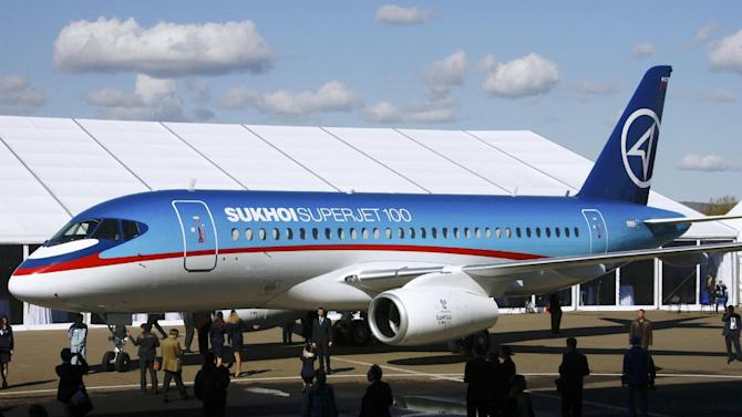 FILE - In this Sept. 26, 2007 file photo, a Sukhoi Superjet-100 is displayed outside the aviation factory in Komsomolsk-on-Amur, Russia, about 6200 kilometers (3,900 miles) east of Moscow. A new Sukhoi Superjet-100 carrying 50 people went missing just south of the Indonesian capital of Jakarta while flying over mountains Wednesday, May 9, 2012, during a demonstration flight for potential buyers and journalists, officials said. (AP Photo/RIA-Novosti, Ruslan Krivobok, File)  NO SALES; NO ARCHIVES; EDITORIAL USE ONLY