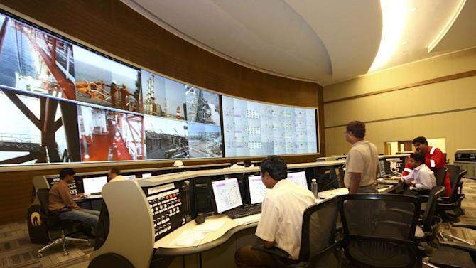 Undated handout photo of the control room of the India's Reliance Industries KG-D6 facility