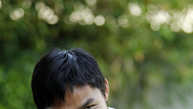 Manny Pacquiao, boxer and Philippine congressman speaks about his views on same-sex marriage at his home in Los Angeles on Wednesday, May 16, 2012. Pacquiao says he loves and supports gays and lesbians, even though he does not approve of gay marriage. (AP Photo/Reed Saxon)