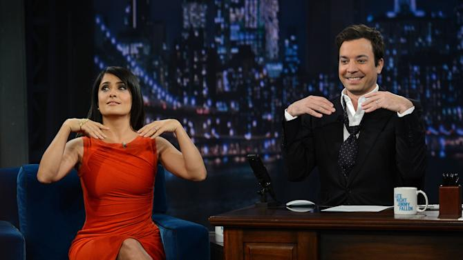 "Salma Hayek Pinault Visits ""Late Night With Jimmy Fallon"""