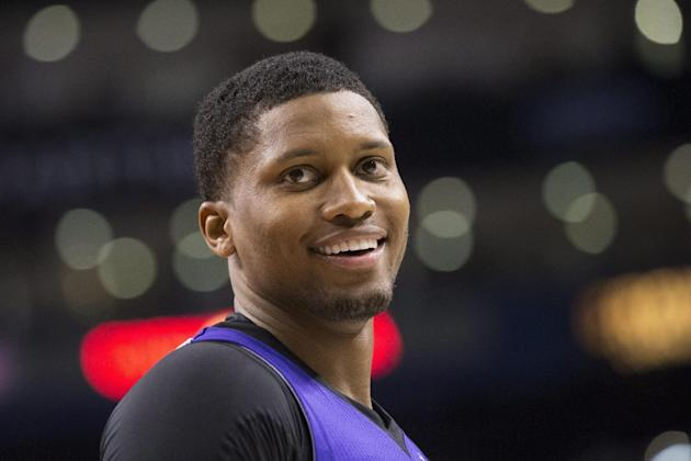 Sacramento Kings' Rudy Gay reacts during first half NBA basketball action against Toronto Raptors in Toronto on Friday March 7, 2014