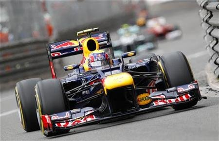 Red Bull Formula One driver Webber of Australia steers round a curve on his way to win the Monaco F1 Grand Prix
