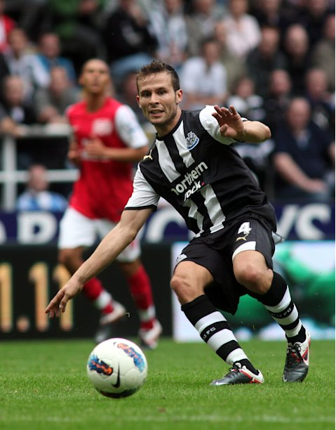 Newcastle United's French midfielder Yohan Cabaye passes the ball during the English Premier League football match between Newcastle United and Arsenal at St James' Park in Newcastle, north-east England on August 13, 2011. AFP PHOTO/IAIN BUIST