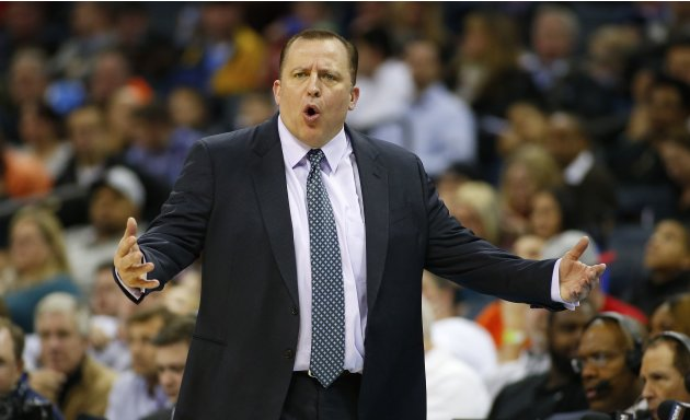 Chicago Bulls head coach Thibodeau yells as his team during the first half of their NBA basketball game against the Charlotte Bobcats in Charlotte