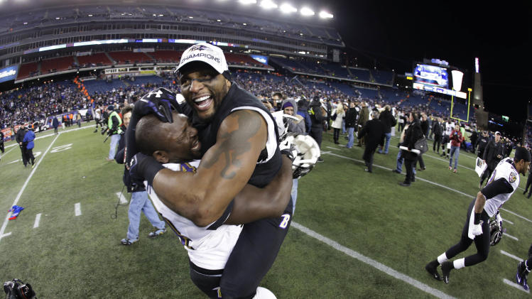 Baltimore ravens inside linebacker ray lewis right celebrates with