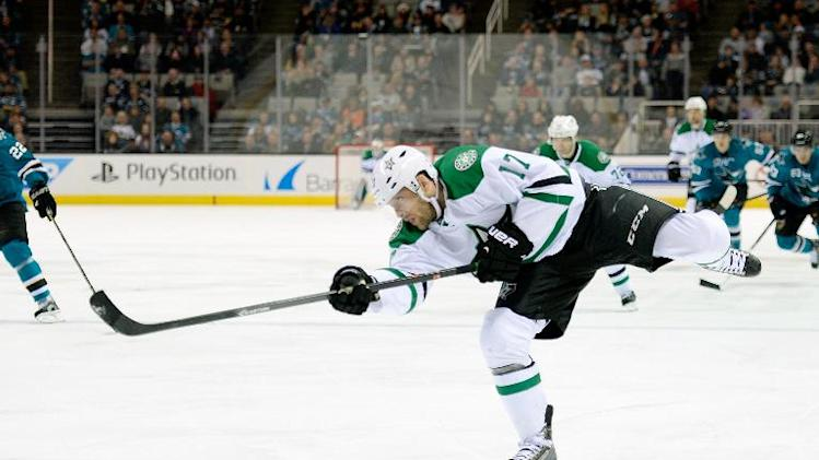 Dallas Stars forward Rich Peverley, pictured in San Jose on December 21, 2013, is rushed to a hospital after collapsing on the bench during the game against the Columbus Blue Jackets