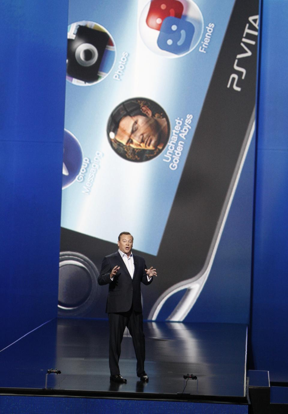 Jack Tretton, President and CEO of Sony Computer Entertainment America, speaks during the Sony Electronic Entertainment Expo (E3) news conference in Los Angeles, Monday, June 4, 2012. (AP Photo/Jason Redmond)