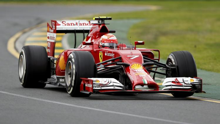 Ferrari Formula One driver Raikkonen of Finland drives during the qualifying session for the Australian F1 Grand Prix in Melbourne