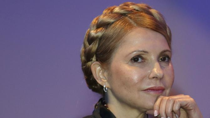 Ukrainian opposition politician Yulia Tymoshenko listens to a speaker during the European People's Party (EPP) Elections Congress in Dublin