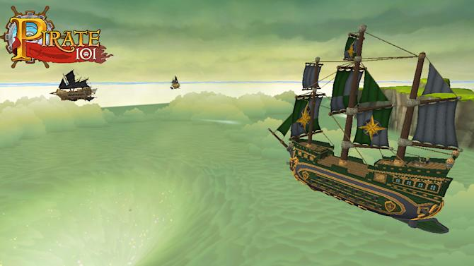 "This undated image provided by : KingsIsle Entertainment shows ""Pirate101,"" the follow-up to the popular online kids' game ""Wizard101,"" which launching to the general public on Oct. 15 and to paying players on Monday, Oct. 8, 2012. The game from KingIsle Entertainment lets players take on the role of an orphan pirate who assembles a crew and adventures his way through a virtual world where ships sail the sky. (AP Photo/: KingsIsle Entertainment)"
