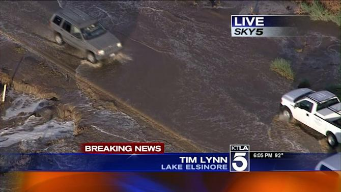 Lake Elsinore Hit By Flash Flooding