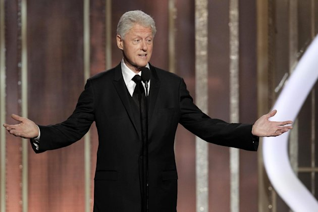 This image released by NBC shows former President Bill Clinton introducing best picture nominee &quot;Lincoln&quot; during the 70th Annual Golden Globe Awards at the Beverly Hilton Hotel on Jan. 13, 2013, in Beverly Hills, Calif. (AP Photo/NBC, Paul Drinkwater)