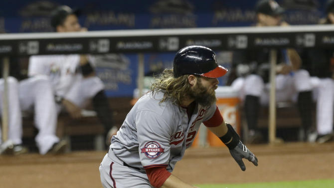 Washington Nationals, Jayson Werth runs on a base hit against the Miami Marlins in the fifth inning of a baseball game, Wednesday, July 29, 2015, in Miami. Yunel Escobar reached third base on the single. (AP Photo/Alan Diaz)