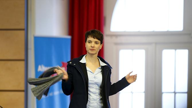 Frauke Petry, Chairwoman of the right-wing Alternative for Germany (AfD) party arrives at the party congress in Hannover