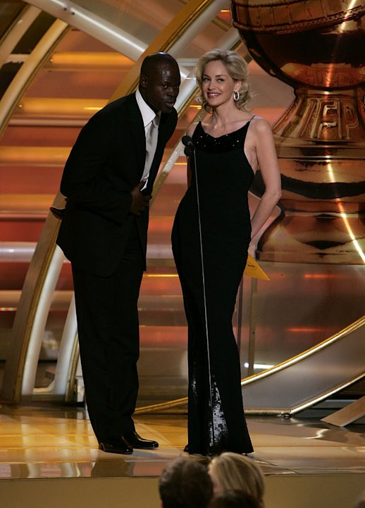 Djimon Hounsou and Sharon Stone at the 64th annual Golden Globe Awards.