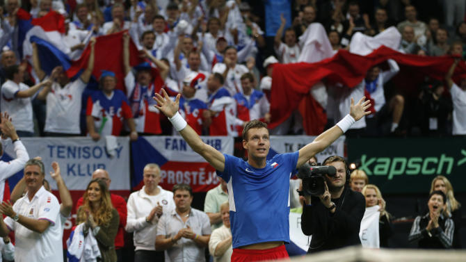 Czech Republic's Tomas Berdych reacts after winning the Davis Cup finals tennis singles match against Spain's Nicolas Almagro in Prague, Czech Republic, Friday, Nov. 16, 2012. Berdych won the match in five sets to tie Spain 1-1. (AP Photo/Petr David Josek)