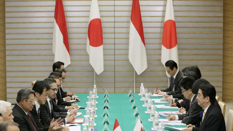Yudhoyono talks with Abe during their meeting in Tokyo