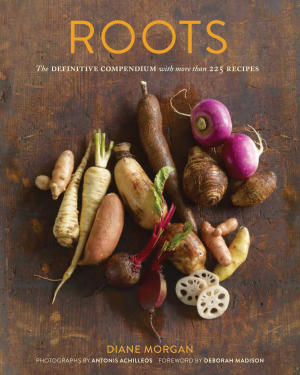 """This undated publicity photo provided by Chronicle Books shows the cover of Deborah Morgan's cookbook, """"Roots: The Definitive Compendium with More than 225 Recipes,"""" published by Chronicle Books (2012). (AP Photo/Chronicle Books,  Antonis Achilleos)"""