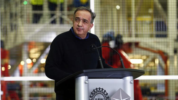 Chrysler Group LLC Chairman and CEO Sergio Marchionne addresses the audience during a production launch celebration of the 2015 Chrysler 200 vehicle at the Sterling Heights Assembly Plant in Sterling Heights, Michigan