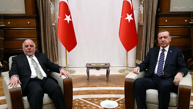 Iraqi Prime Minister Haider al-Abadi meets with Turkey's President Tayyip Erdogan at the Presidential palace in Ankara