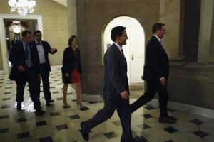 U.S. House Majority Leader Cantor walks into the offices of Speaker Boehner during a rare late-night Saturday session at the U.S. Capitol in Washington