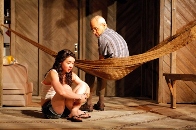 "This theater publicity image released by Philip Rinaldi Publicity shows Sarah Steele, left, and Zeljko Ivanek in a scene from ""Slowgirl,"" presented off-Broadway by Lincoln Center Theater/LCT3 at the Claire Tow Theater in New York. (AP Photo/Philip Rinaldi Publicity, Erin Baiano)"