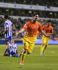 LA CORUNA, SPAIN - OCTOBER 20:  Lionel Messi of FC Barcelona celebrates after scoring his team&#39;s fifth goal during the La Liga match between Deportivo La Coruna and FC Barcelona at Riazor Stadium on October 20, 2012 in La Coruna, Spain. FC Barcelona won 4-5.  (Photo by David Ramos/Getty Images)