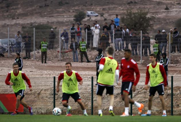 People watch the final training session of Bayern Munich ahead of their Club World Cup soccer match in Agadir