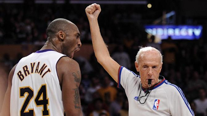 Here's proof Dick Bavetta once called a foul against the Lakers. (AP Photo)