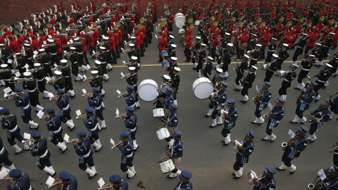 "Members of the Indian military band rehearse for the ""Beating the Retreat"" ceremony in New Delhi"