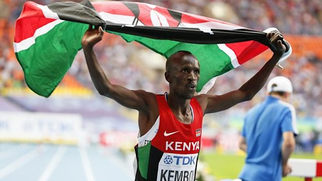 Ezekiel Kemboi of Kenya celebrates his victory in the men's 3000 metres steeplechase final of the IAAF World Athletics Championships at the Luzhniki Stadium in Moscow (Reuters)
