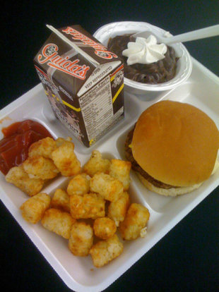 A typical school lunch.