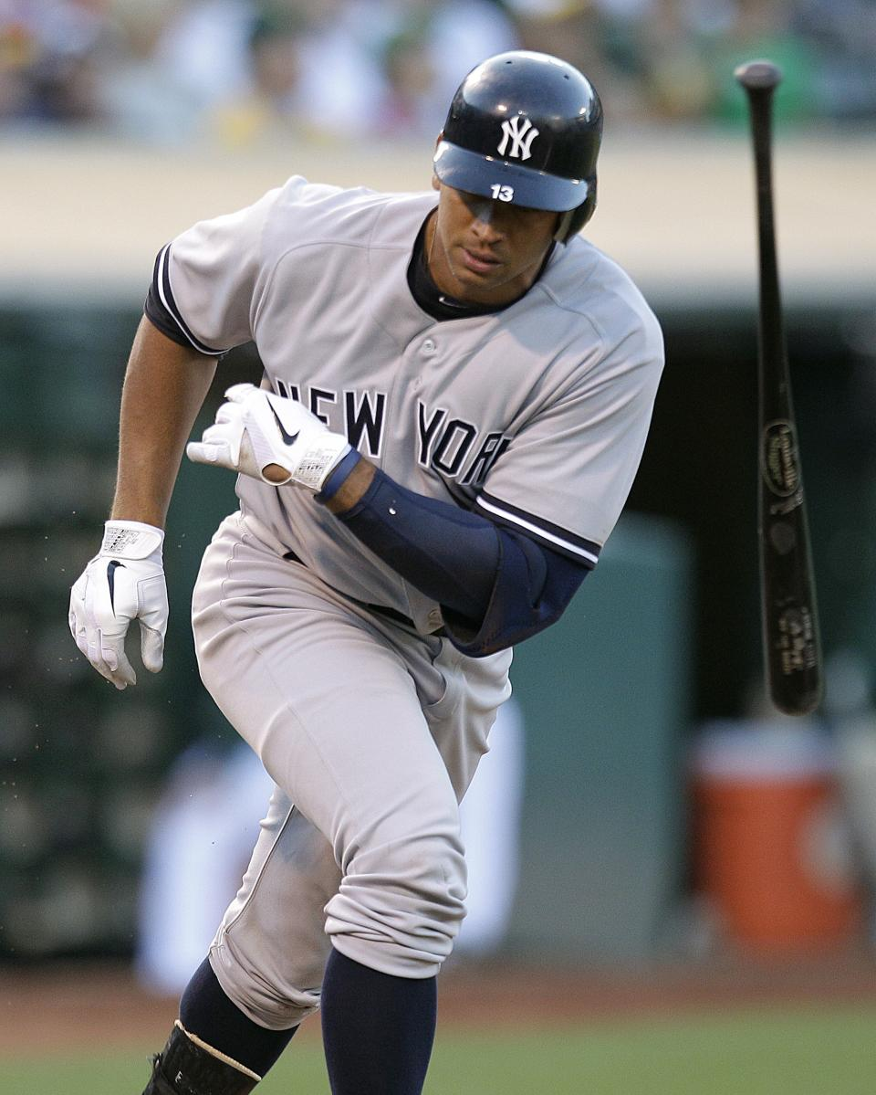 New York Yankees' Alex Rodriguez flings his bat after grounding out on a pitch from Oakland Athletics' A.J. Griffin in the third inning of a baseball game, Thursday, July 19, 2012, in Oakland, Calif. (AP Photo/Ben Margot)