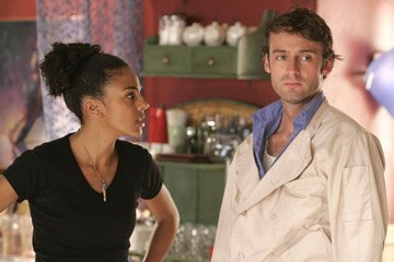 Marsha Thomason and Callum Blue in Streaming Hot Coffee's Caffeine