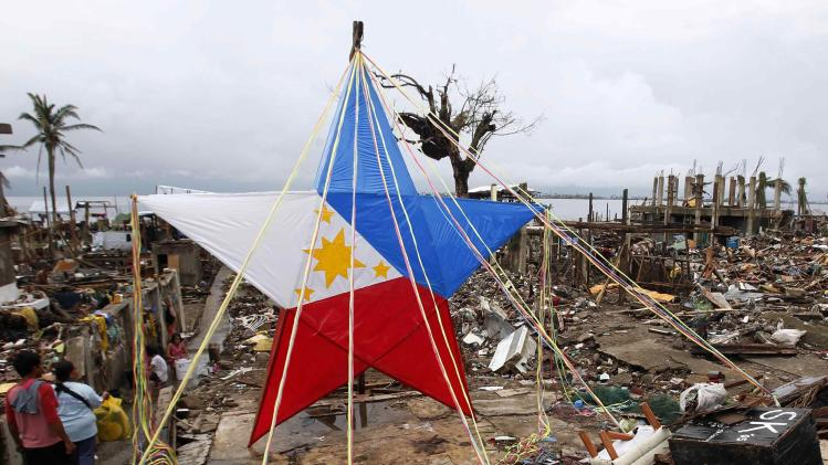 A giant Christmas lantern is seen in a devastated area of Magallanes town, Tacloban city, central Philippines