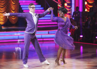 "In this April 23, 2012 photo released by ABC, singer Gladys Knight, right, and her partner Tristan MacManus perform on the celebrity dance competetion series, ""Dancing with the Stars,"" in Los Angeles. (AP Photo/ABC, Adam Taylor)"