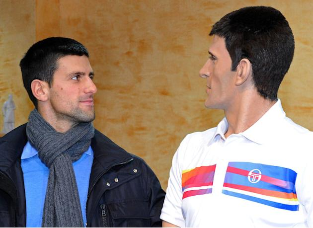 Tennis World Number One Novak Djokovic Poses Next To His Wax Sculpture Revealed On February 9, 2012, At The Wax Museum AFP/Getty Images