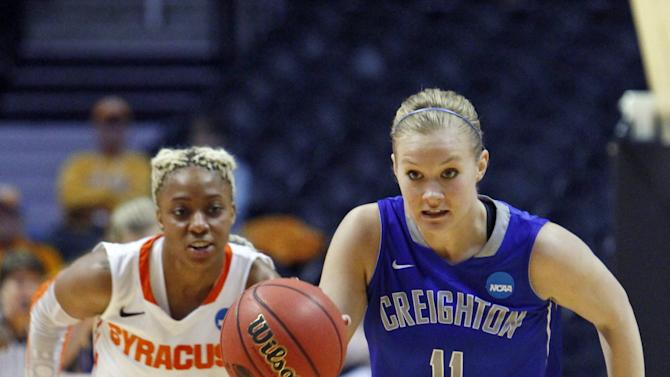 Creighton guard McKenzie Fujan (11) drives the ball up court against Syracuse guard Elashier Hall (2) in the second half of a first-round game in the women's NCAA college basketball tournament on Saturday, March 23, 2013, in Knoxville, Tenn. Creighton won 61-56 to advance. (AP Photo/Wade Payne)