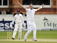 England's Stuart Broad appeals unsuccessfully for the wicket of West Indies' Denesh Ramdin during the fourth day of the first Test against the West Indies at Lords cricket ground in London, May 20. England will take an unbeatable lead in their three-match series against the West Indies if they win the second Test at Trent Bridge starting on Friday